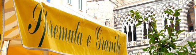 A cafe awning in Italy, advertising iced drinks.