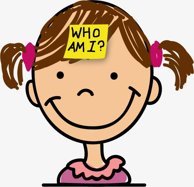 Image of a young girl with a note stuck to her head, saying 'Who am I?'